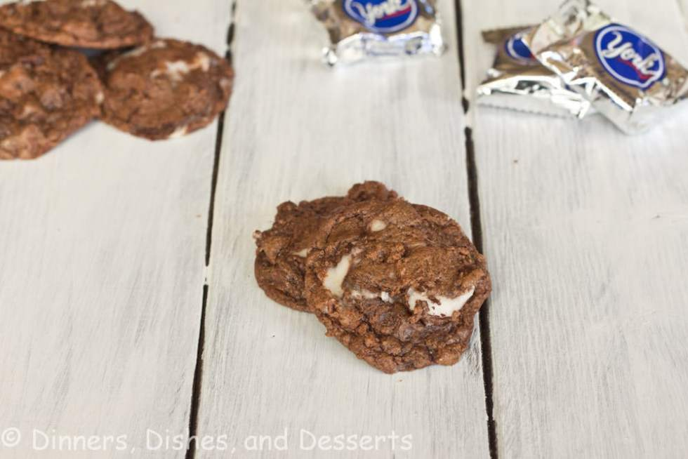 peppermint patty fudge cookies on a table