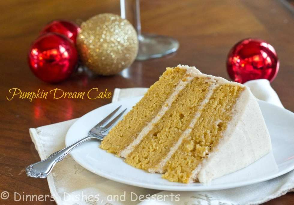 Three layer pumpkin cake with a Cinnamon Butter Cream Frosting. Gorgeous, and perfect for any Holiday table.