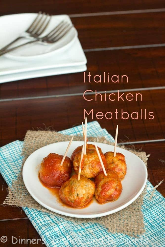chicken meatballs on a plate with toothpicks