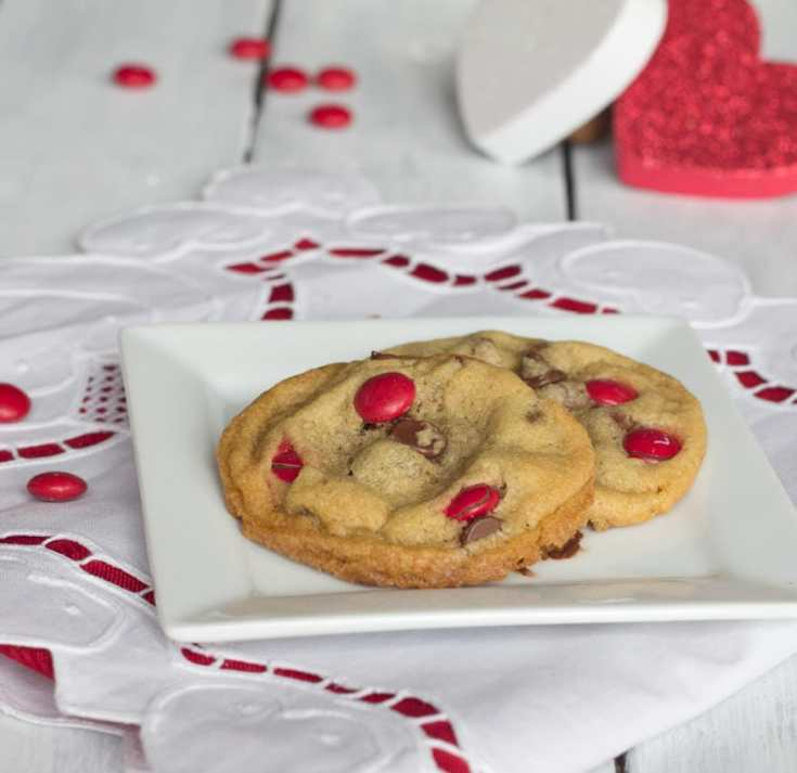 brown butter m&m cookies on a plate