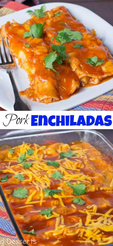 pork enchiladas on a plate close up