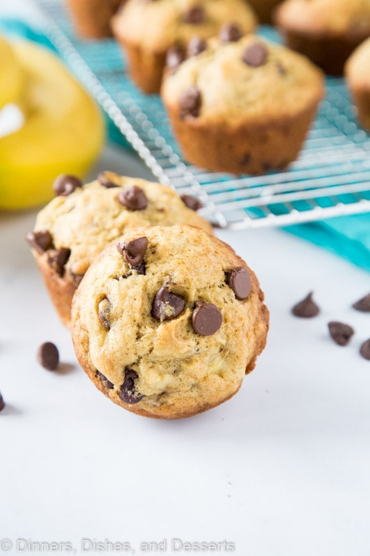 banana chocolate chip muffins with bananas in background