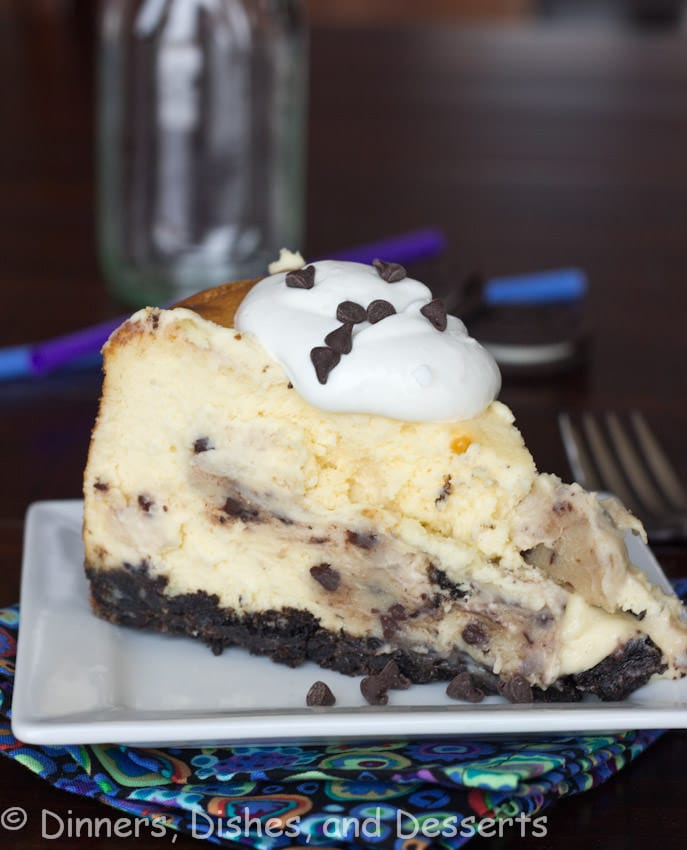 chocolate chip cookie dough cheesecake on a plate