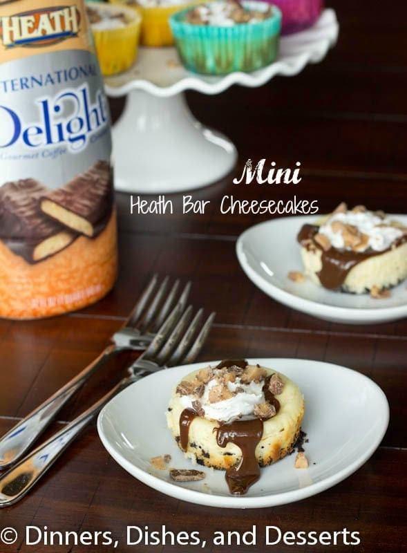 Mini Heath Bar Cheesecakes #recipe