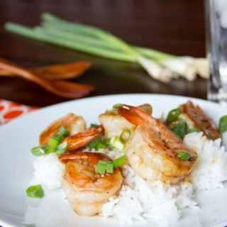 hoisin glazed shrimp on a plate