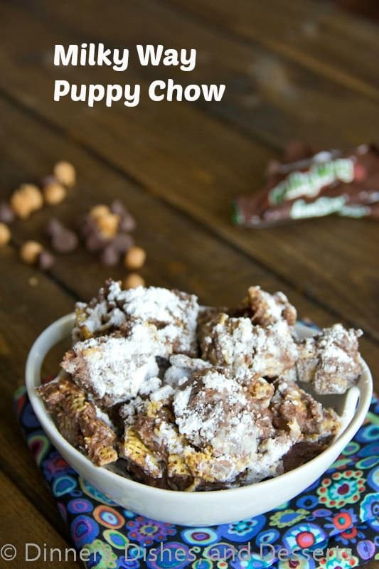 Milky Way Puppy Chow #recipe | @dinnersdishesanddesserts
