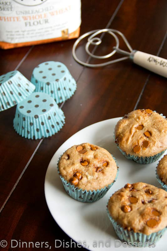 whole wheat cinnamon muffins on a plate