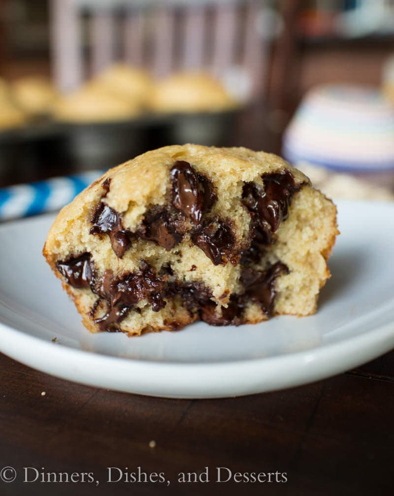 Banana Oat Chocolate Chip Muffins (gluten free) - easy muffins that come together in the blender!