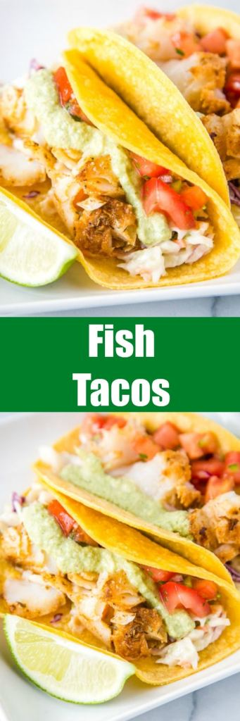 Easy Fish Tacos - a super easy, healthy, and delicious cod fish taco recipe.  Topped with a fresh Mexican coleslaw, pice de gallo, and a roasted poblano fish taco sauce.