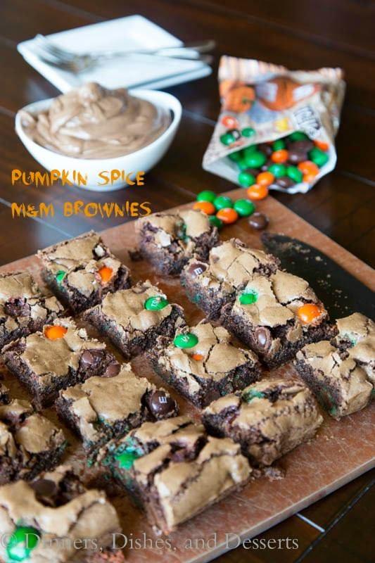 Pumpkin Spice M&M Brownies