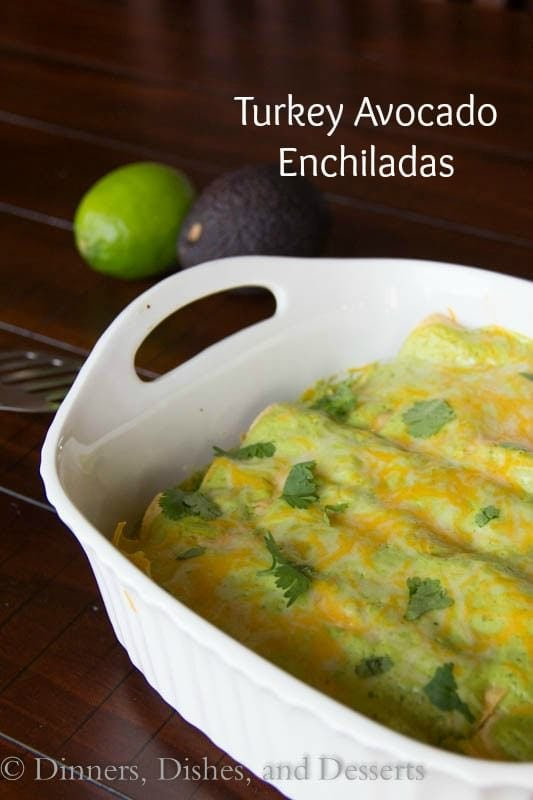 turkey avocado enchiladas in a pan