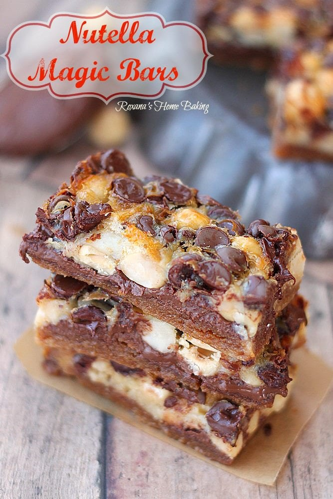 Loaded with Nutella, hazelnuts and chocolate chips these bars disappear quickly!