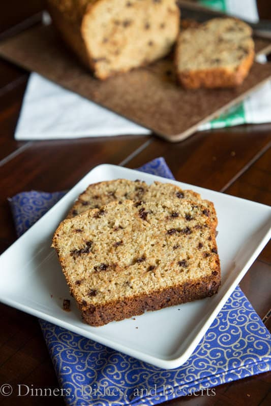 whole wheat chocolate chip banana bread on a plate