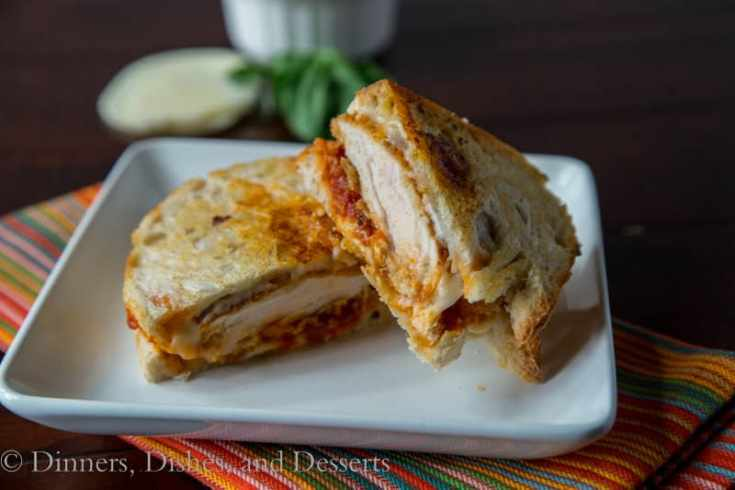 chicken parm panini on a plate