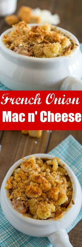 French Onion Macaroni and Cheese - Creamy homemade mac and cheese with caramelized onion, bacon, and topped with croutons.