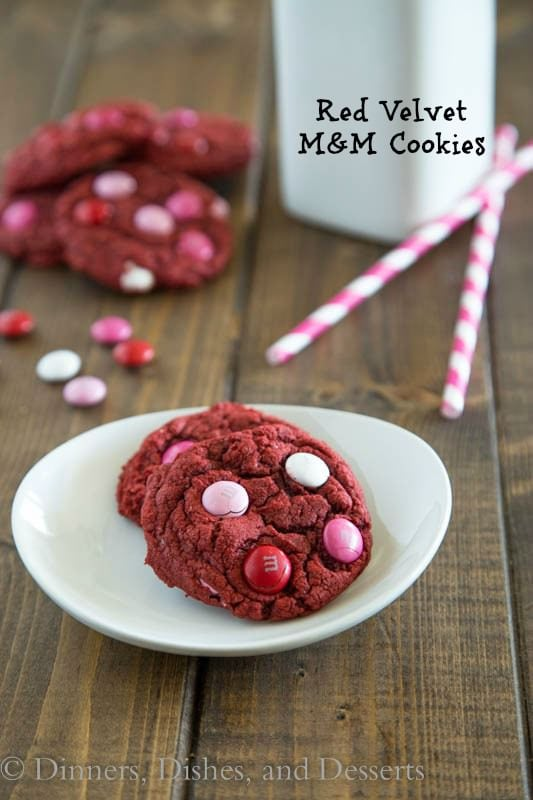 Red Velvet M&M Cookies on a plate