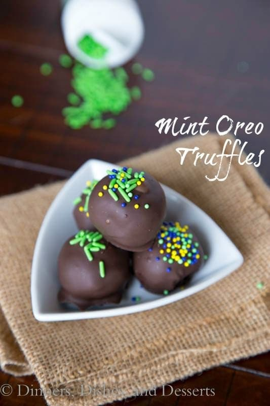 mint oreo truffles in a bowl