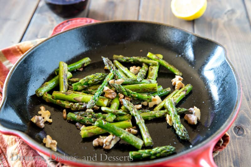 Pan Charred Asparagus with Lemon and Walnuts - great side dishe for spring