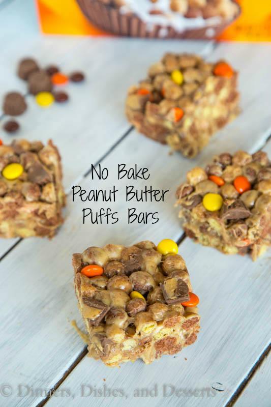 No Bake Peanut Butter Puffs Bars - Peanut butter, peanut butter candies, peanut butter cups, and peanut butter puff's cereal!