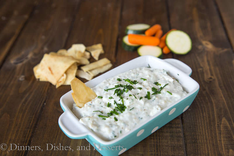 Roasted Garlic & Chive Dip {Dinners, Dishes, and Desserts}