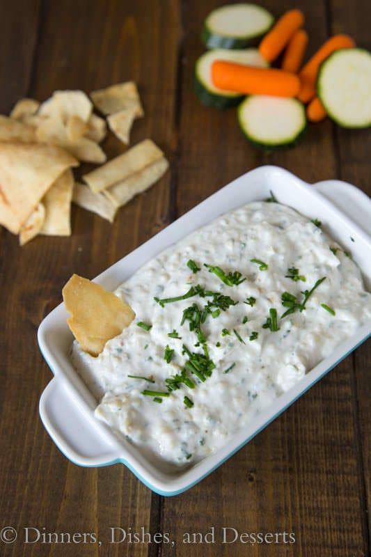 Roasted Garlic & Chive Dip - sweet roasted garlic, chives, and Greek yogurt make for a quick and easy dip