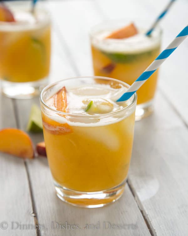 Bourbon Peach Limeade; a great summer cocktail