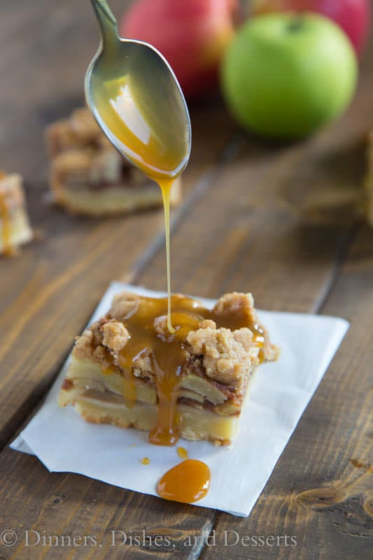 Caramel Apple Pie Bars - shortbread crust, baked apples, struesel and caramel...what is not to love!