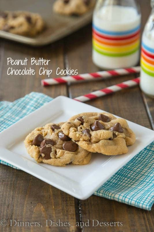 Peanut Butter Chocolate Chip Cookies - perfectly soft and fluffy peanut butter cookies