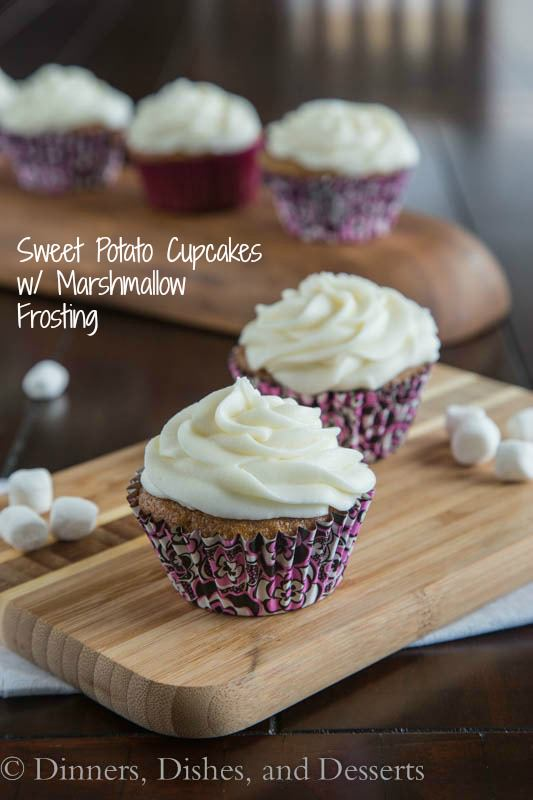 Sweet Potato Cupcakes with Marshmallow Frosting - use those leftover sweet potatoes from Thanksgiving to make cupcakes!