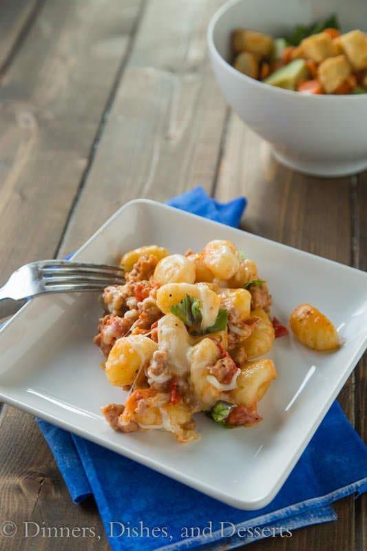 Cheesy Gnocchi Skillet - lightened up comfort food!