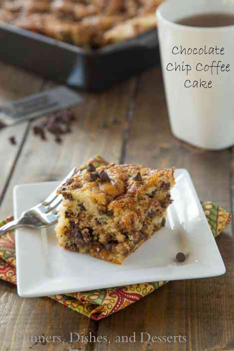 Chocolate Chip Coffee Cake - A light and fluffy coffee cake with a layer of chocolate chip streusel in the middle and on top!
