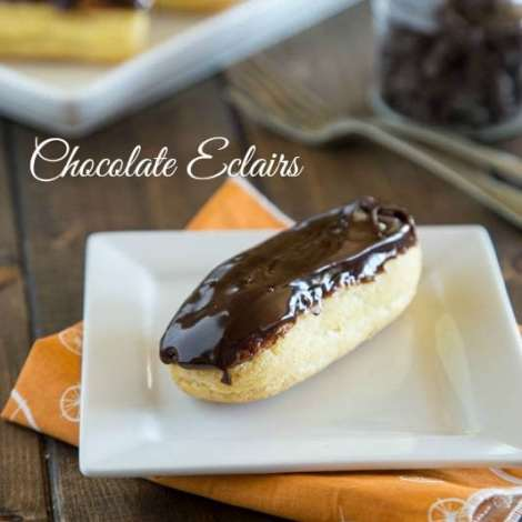 Chocolate Eclairs - Light and airy pastry filled with a vanilla cream, and then topped with a chocolate icing. Sure to impress, but way easier than you think to make!