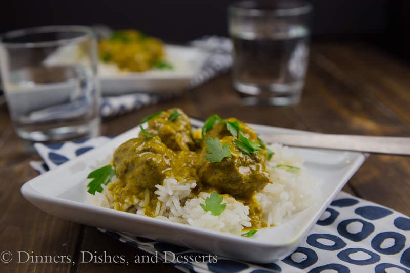 Coconut Curry Meatballs {Dinners, Dishes, and Desserts}