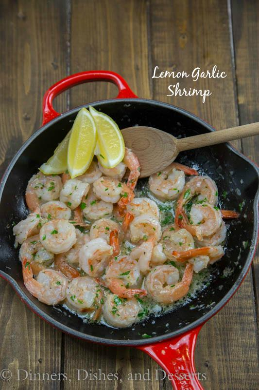 Lemon Garlic Shrimp - Super quick and easy dinner of shrimp sauteed in butter and garlic and then finished with lemon juice.