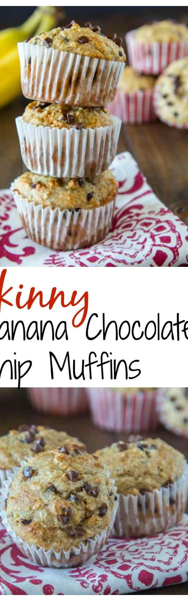 Skinny Banana Chocolate Chip Muffins - a lightened up (but you would never know it) banana muffin with chocolate chips. They freeze well, so you can always have them on hand for quick breakfasts.
