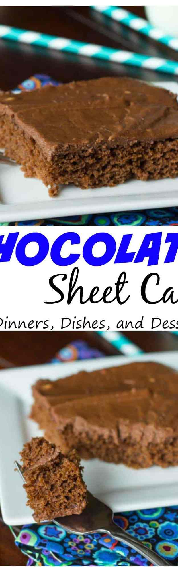 Chocolate Sheet Cake - a traditional rich, chocolate, Texas style sheet cake.