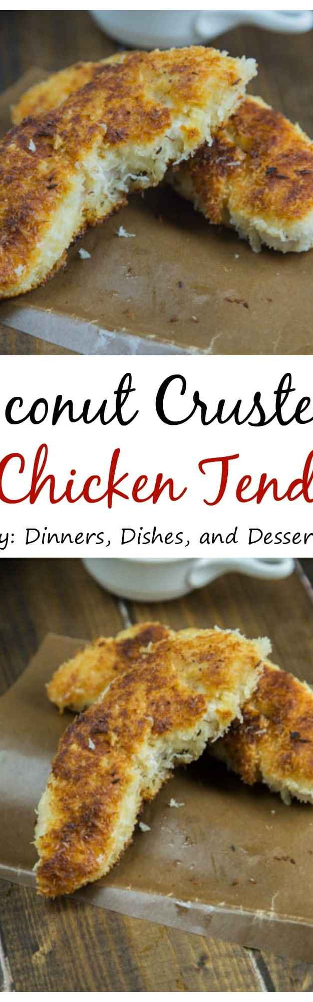 Coconut Crusted Chicken Tenders - super crispy chicken tenders that are coated in shredded coconut! Perfect for a quick dinner for the whole family!