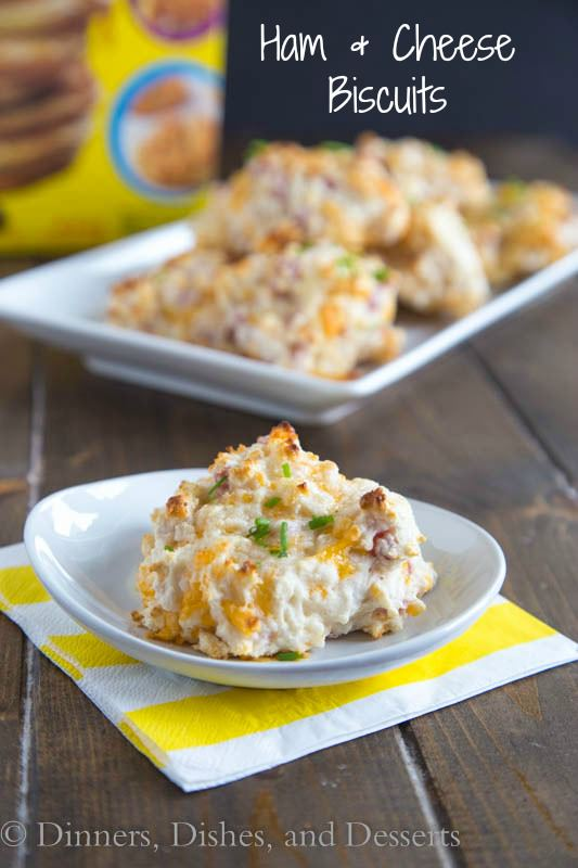 Ham & Cheese Biscuits - Fluffy drop biscuits full of cheddar cheese and diced ham. A great side dish, or use of leftover ham.