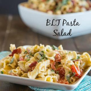 BLT Pasta Salad - Turn the classic BLT sandwich in a pasta salad with a creamy dressing. Great for lunch, dinner, parties, potlucks, or just about anytime.