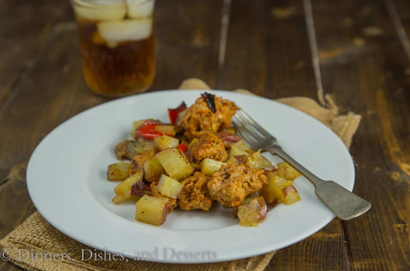 Oven Roasted Potatoes & Sausage {Dinners, Dishes, and Desserts}