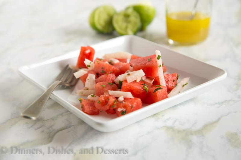Jicima and Watermelon Salad {Dinners, Dishes, and Desserts}