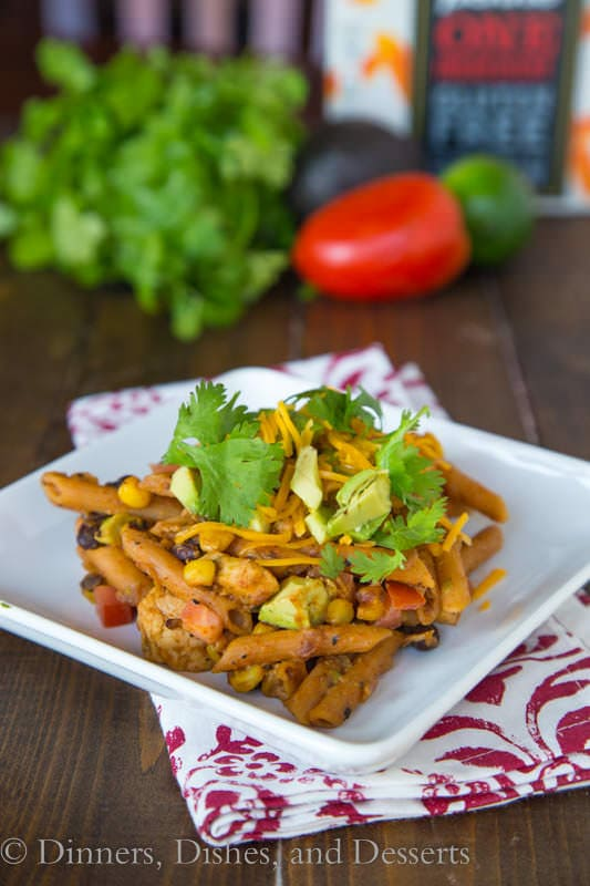 Southwestern Chicken Pasta - A creamy southwestern style pasta with black beans, corn, chicken and tons of flavor. All made with a gluten-free pasta (trust me, you would never know).