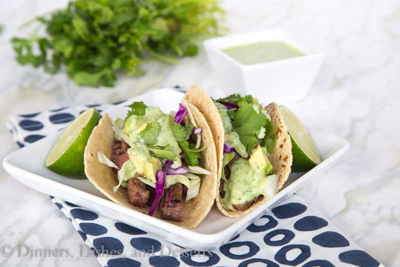 Skirt Steak Street Tacos {Dinners, Dishes, and Desserts}