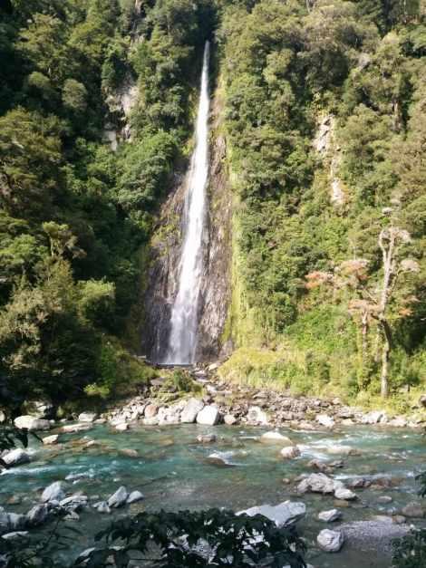 Waterfall near Haast Pass in New Zealand