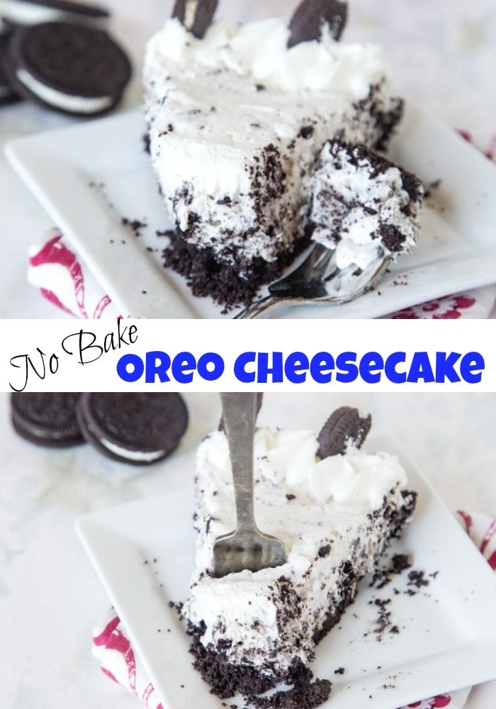 No Bake Oreo Cheesecake - A super creamy no bake cheesecake filled with Oreo's and ready in minutes!