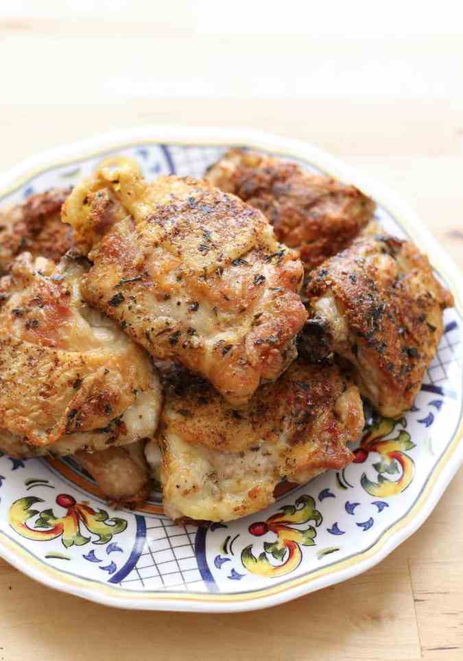 Pan Fried Italian Chicken Thighs {Barefeet in the Kitchen}