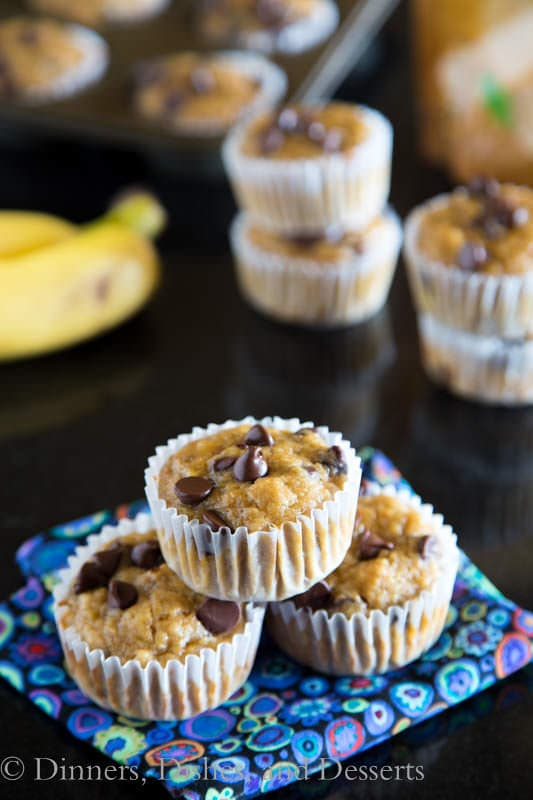 Banana Peanut Butter Chocolate Chip Muffins - Jif Protein Powder bumps up the protein but keeps these peanut butter banana muffins good for you!