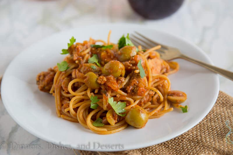 Spanish Spaghetti with Olives {Dinners, Dishes, and Desserts}