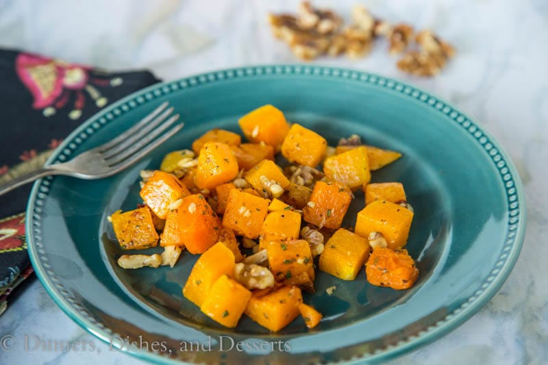Roasted Butternut Squash with sage and walnuts {Dinners, Dishes, and Desserts}