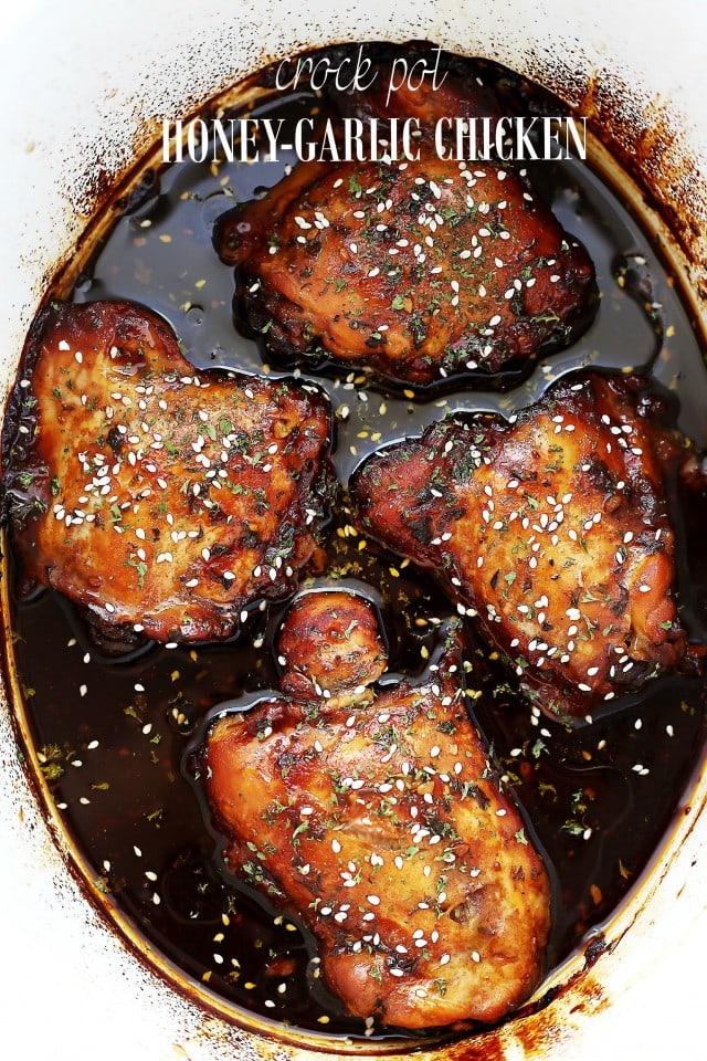 Crock Pot Honey Garlic Chicken {Diethood}